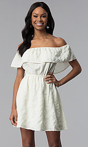 Image of off-the-shoulder ruffle short white grad dress. Style: RO-R67296 Front Image