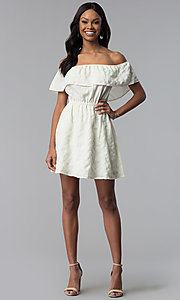 Image of off-the-shoulder ruffle short white grad dress. Style: RO-R67296 Detail Image 3