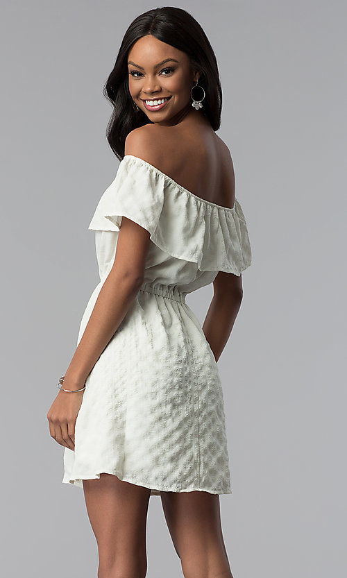 Image of off-the-shoulder ruffle short white grad dress. Style: RO-R67296 Back Image