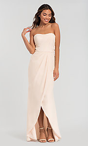 Image of long strapless bridesmaid dress. Style: KL-200050 Detail Image 6