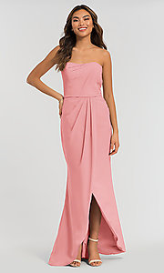 Image of long strapless bridesmaid dress. Style: KL-200050 Detail Image 4