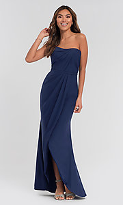 Image of long strapless bridesmaid dress. Style: KL-200050 Detail Image 7