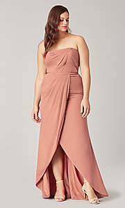 Image of long strapless bridesmaid dress. Style: KL-200050 Detail Image 8