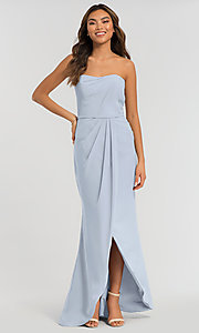 Image of long strapless bridesmaid dress. Style: KL-200050 Detail Image 5