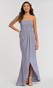 Image of long strapless bridesmaid dress. Style: KL-200050 Detail Image 2