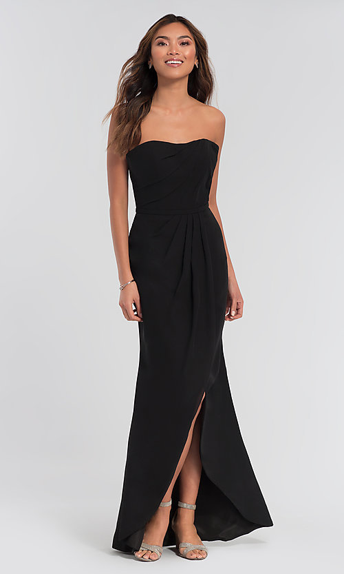 Image of long strapless bridesmaid dress. Style: KL-200050 Detail Image 1
