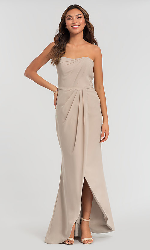 Image of long strapless bridesmaid dress. Style: KL-200050 Detail Image 3
