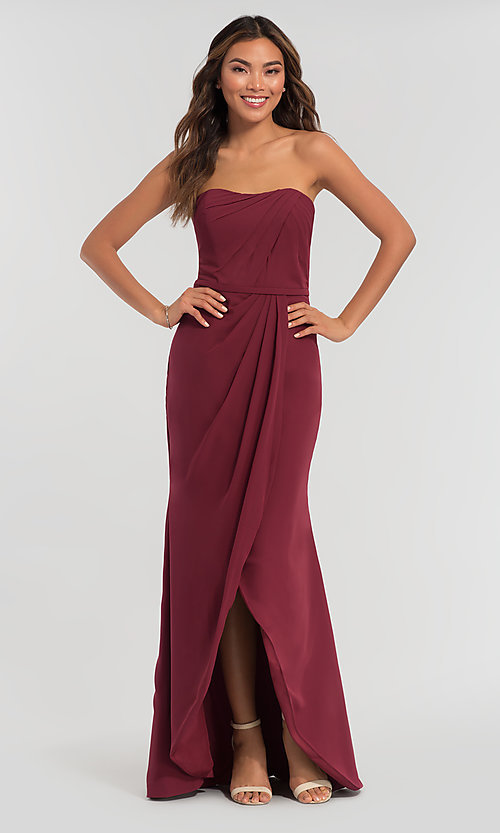 Image of long strapless bridesmaid dress. Style: KL-200050 Front Image