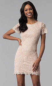 Image of lace embroidered short party dress with sleeves. Style: VE-628-214917 Front Image