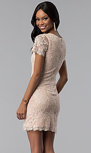 Image of lace embroidered short party dress with sleeves. Style: VE-628-214917 Back Image