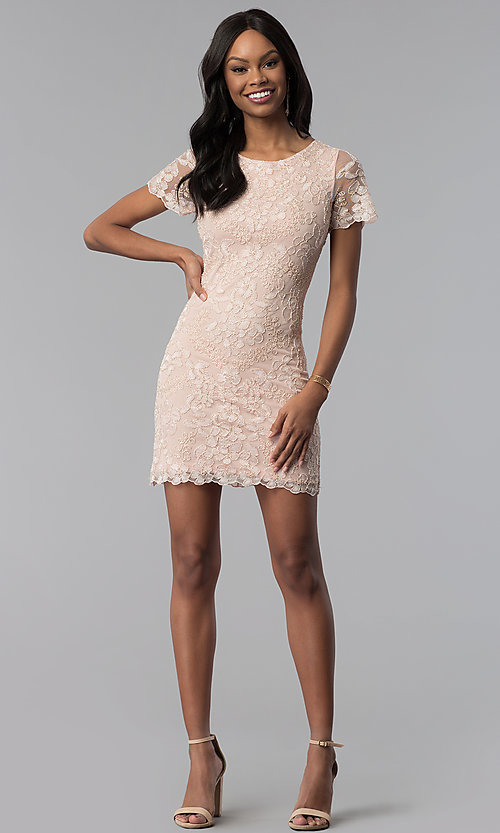 Image of lace embroidered short party dress with sleeves. Style: VE-628-214917 Detail Image 3