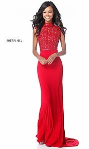 Image of long open-back Sherri Hill military ball dress. Style: SH-51876 Front Image