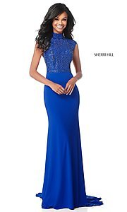 Image of long open-back Sherri Hill military ball dress. Style: SH-51876 Detail Image 3