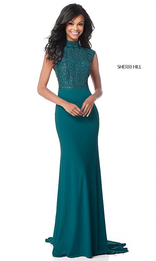 Image of long open-back Sherri Hill military ball dress. Style: SH-51876 Detail Image 1