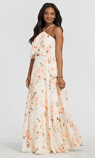 Kleinfeld Long Floral-Print Bridesmaid Dress