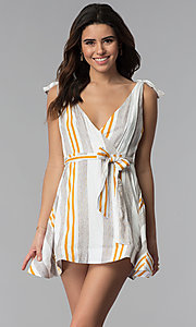 Image of v-neck striped faux-wrap casual party dress. Style: LUX-LD4690 Front Image