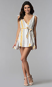Image of v-neck striped faux-wrap casual party dress. Style: LUX-LD4690 Detail Image 3
