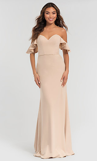 Off-Shoulder Long Bridesmaid Dress with Sleeves
