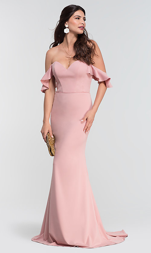 Off Shoulder Long Bridesmaid Dress With Sleeves