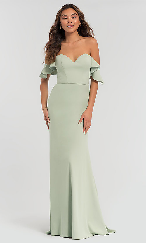 6b6120a2e59e Image of off-shoulder long bridesmaid dress with sleeves. Style: KL-200060
