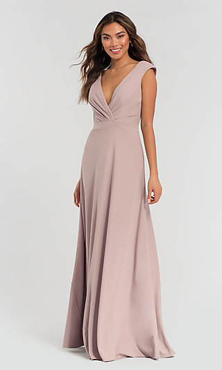 Cap-Sleeve Jersey Kleinfeld Bridesmaid Dress