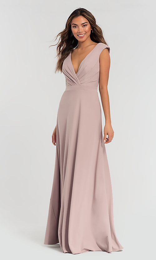 Image of cap-sleeve jersey Kleinfeld bridesmaid dress. Style: KL-200061 Front Image