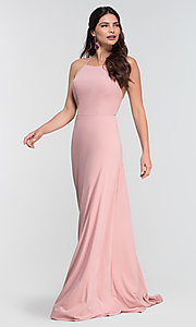Image of backless long bridesmaid dress by Kleinfeld: limited availability. Style: KL-200062 Detail Image 7