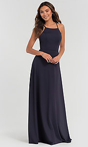 Image of long jersey bridesmaid dress with strappy back. Style: KL-200062 Front Image