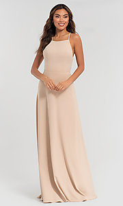Image of long jersey bridesmaid dress with strappy back. Style: KL-200062 Detail Image 3