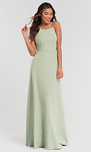 Image of long jersey bridesmaid dress with strappy back. Style: KL-200062 Detail Image 6