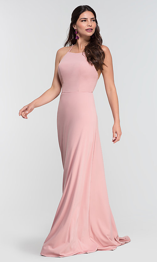 Image of long jersey bridesmaid dress with strappy back. Style: KL-200062 Detail Image 7