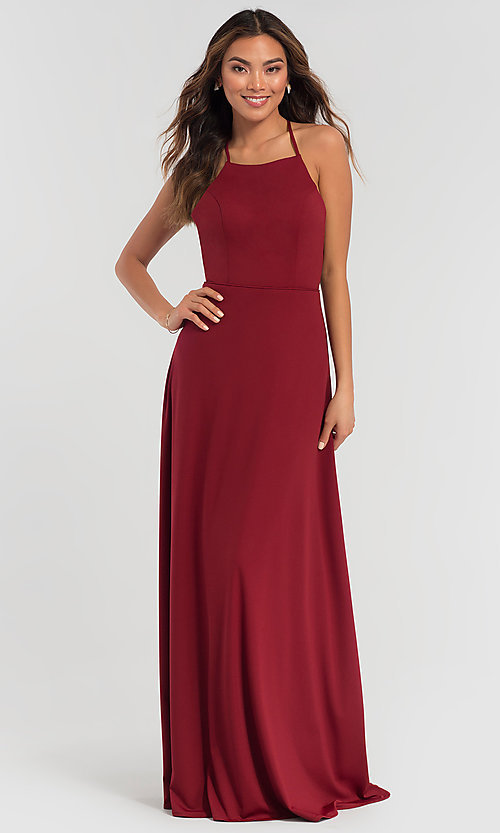 Image of long jersey bridesmaid dress with strappy back. Style: KL-200062 Detail Image 1