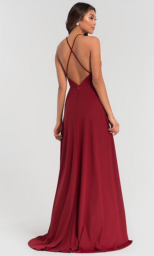 Image of long jersey bridesmaid dress with strappy back. Style: KL-200062 Back Image