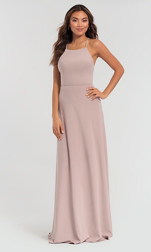 Image of backless long bridesmaid dress by Kleinfeld: limited availability. Style: KL-200062 Detail Image 4