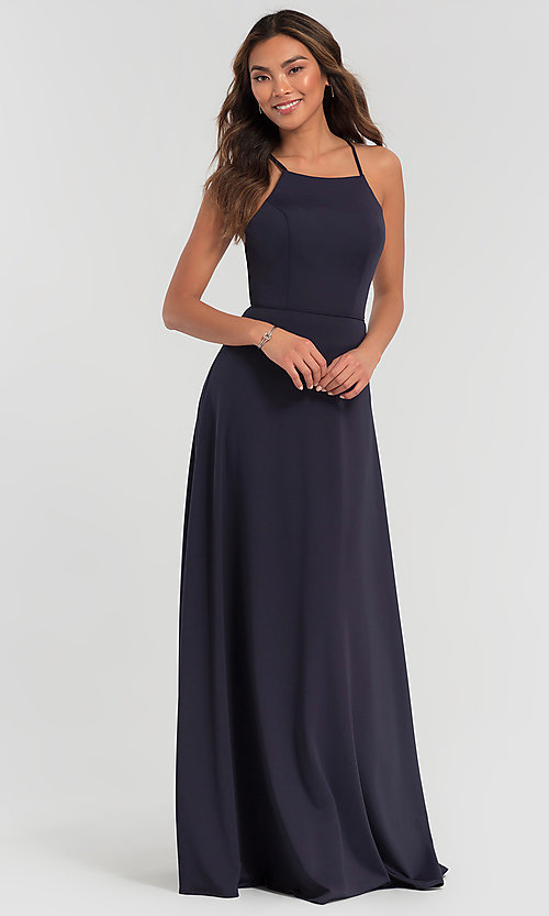 Image of backless long bridesmaid dress by Kleinfeld: limited availability. Style: KL-200062 Front Image
