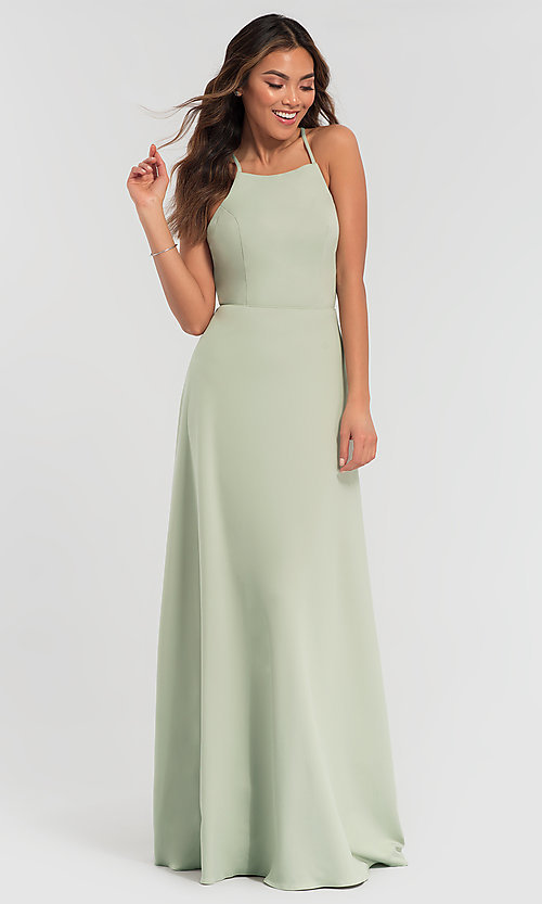Image of backless long bridesmaid dress by Kleinfeld: limited availability. Style: KL-200062 Detail Image 6