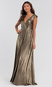 Image of long sparkly bridesmaid dress in metallic jersey. Style: KL-200064 Detail Image 3