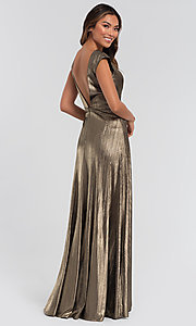 Image of long sparkly bridesmaid dress in metallic jersey. Style: KL-200064 Detail Image 4