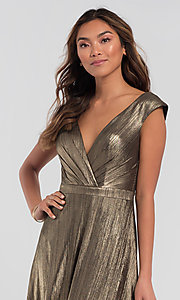 Image of long sparkly bridesmaid dress in metallic jersey. Style: KL-200064 Detail Image 5