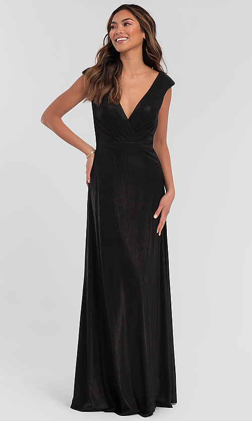 Image of long sparkly bridesmaid dress in metallic jersey. Style: KL-200064 Front Image