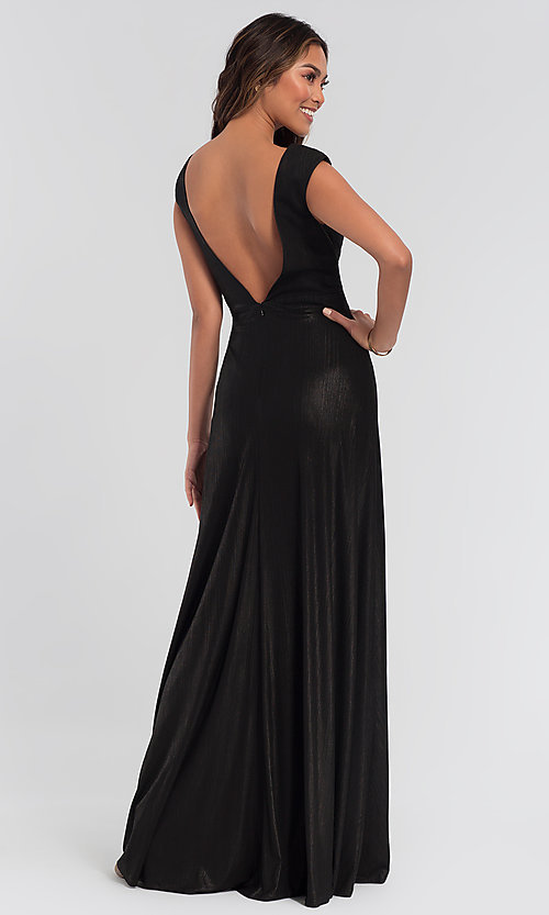 Image of long sparkly bridesmaid dress in metallic jersey. Style: KL-200064 Back Image