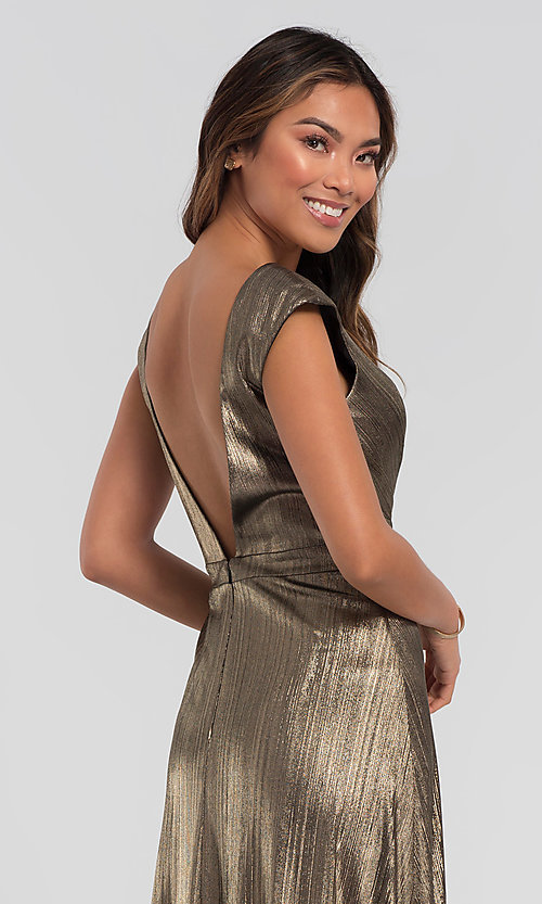 Image of long sparkly bridesmaid dress in metallic jersey. Style: KL-200064 Detail Image 6