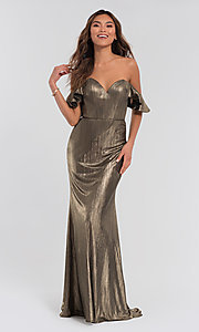 Image of long off-the-shoulder metallic bridesmaid dress. Style: KL-200065 Front Image