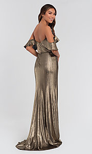 Image of long off-the-shoulder bridesmaid dress by Kleinfeld. Style: KL-200065 Back Image