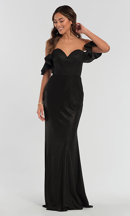Image of long off-the-shoulder bridesmaid dress by Kleinfeld. Style: KL-200065 Detail Image 3