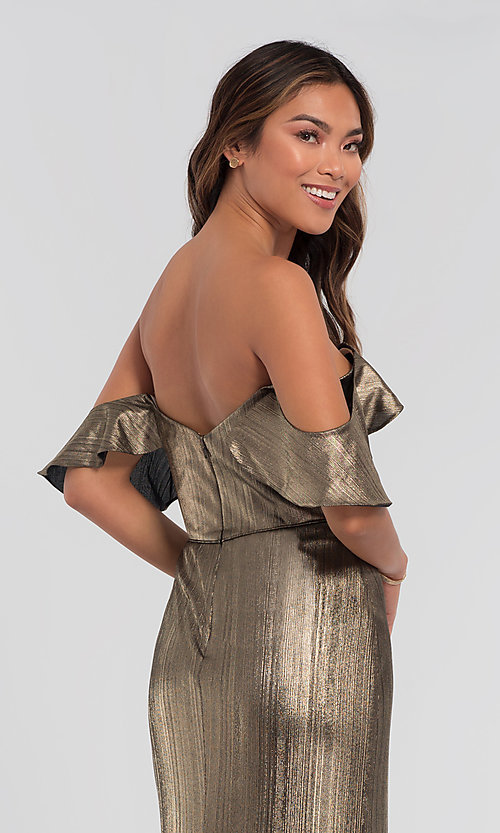Image of long off-the-shoulder bridesmaid dress by Kleinfeld. Style: KL-200065 Detail Image 2