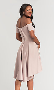 Image of short off-the-shoulder high-low bridesmaid dress. Style: KL-200048 Detail Image 1