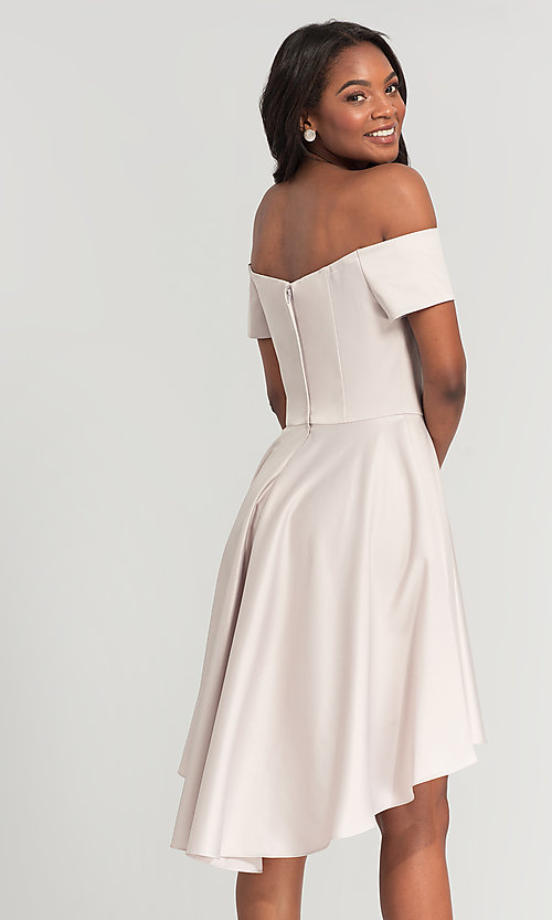 Image of short off-the-shoulder high-low bridesmaid dress. Style: KL-200048 Detail Image 8