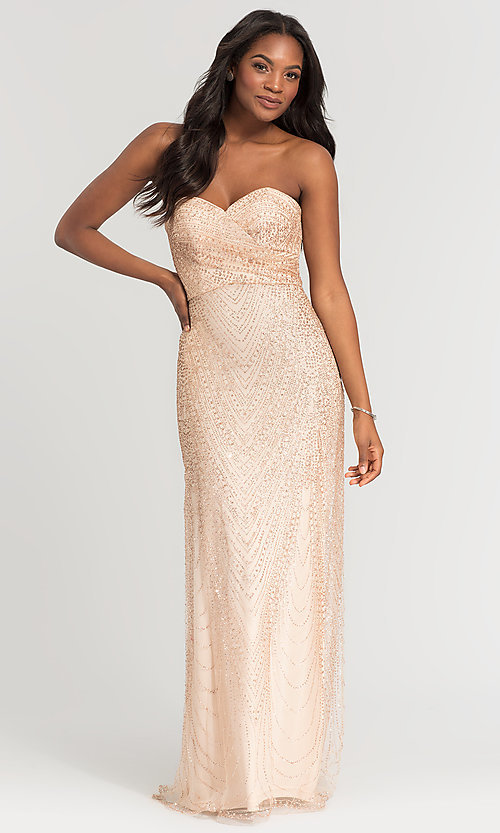 Image of Kleinfeld long strapless glitter bridesmaid dress. Style: KL-200069 Front Image