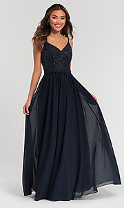 Image of v-neck long bridesmaid dress with beaded bodice. Style: KL-200072 Detail Image 3